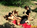 girls photographing naked man