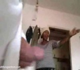 jerking and cumming in front of African maid