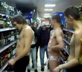 Russian guy hazed by doing semi naked dare