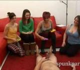 4 British girls play CFNM dick ringtoss game