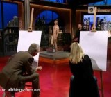 CFNM nude drawing of erect model on Harald Schmidt Show