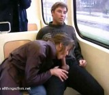 Hot public bus ride CFNM blowjob by wife