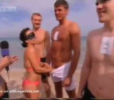 Blindfolded girl beach penis guessing game