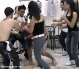 Girls help classmates expose a guy's cock