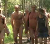 CFNM hiking with naturists in Fontainebleau France