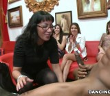 Girls get cream off the strippers cock