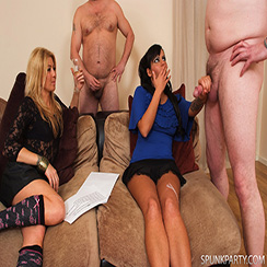 CFNM Spunk Party cum on her leg