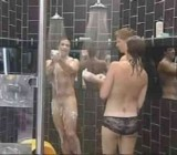 Cute brunette showers with 2 naked men