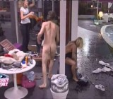 Girls laugh as silly dude strips naked & skinny dips