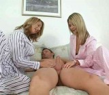 A two girl pajama party handjob