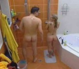 Tall guy strips & showers nude with cute blonde
