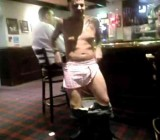 Drunk guy strips naked in front of 2 bar maids