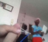 African maid chats with older man jacking off