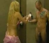 Bikini girl assaults showering man with soap