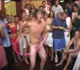 CFNM nude college party hula hoop contest