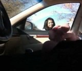 Cute girl talks with guy jacking off in his car 2