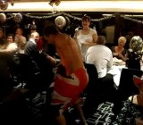 Hen night stripper gives mature woman a show