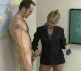 MILF teacher shows guy her unique handjob styles