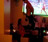 German stripper gets naked for a few girls