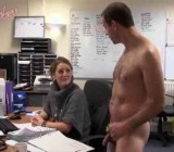 Simon works as naked cleaner in a girl's office