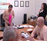 Clothed woman attends all nude office meeting
