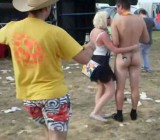 Naked dude dances around hot chicks