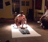 Performance artist strips naked & paints cock