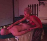 Blonde MILF gives CFNM Salome tantric massage