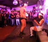 Hot girl CFNM with male stripper at Chalet 69 club