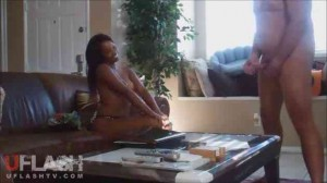 Shameless Ebony house cleaner strip CFNM jerk flashing interview