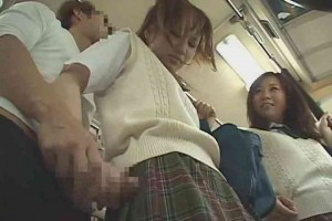 Japanese girl jerks guy off with friends on public bus