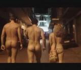 2 men & a woman public nudity in Thessaloniki