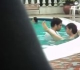Amateur Hispanic couple has sex in a public pool