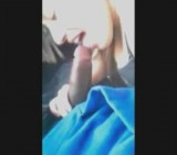 Beautiful white girl sucking black dick in a car