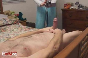 Blonde MILF watches & films guy jerk off CFNM3