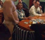 Chubby dude strips & flops dick at women at party