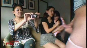 Three Japanese MILFS take pics & watch man jerk off