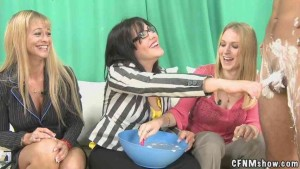 CFNM Three hot girls shave cock & balls of exposed man
