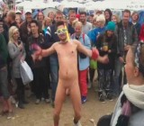 Girls cheer on naked guy during obstacle course
