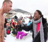 CFNM report - Cute black girl talks with naked guy in the snow