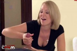 Blonde wife rubs balls & uses light touch for handjob