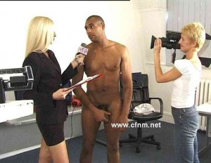 female reporter interviews naked man CFNM