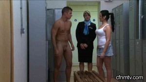stripped nude in lockerroom CFNM