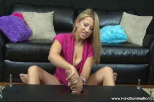 Allana gives handjob & teases hung restrained man