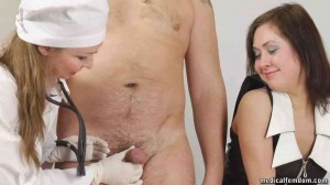 Hot girlfriend attends CFNM virility health exam