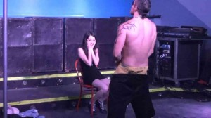 Amateur hot Latina shyly gropes a male stripper during strip show