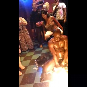 Black women grab & jack off a well hung nude male stripper