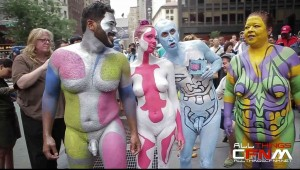 Group of naked people get painted in front of public NYC crowd