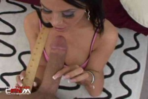 Savannah Stern measures & sucks a monster cock
