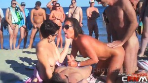Cap d'Agde nude beach two couples four way with spectators